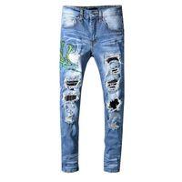 джинсы с голубыми джинсами оптовых-New Italy Style Men's Snake Embroidery Distressed Patches Leather Sneak Pants Skinny Blue Jeans Slim Trousers Size 28-40 561#