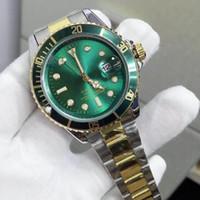 anillo de cerámica de moda al por mayor-40mm Anillo de cerámica cara verde cuarzo de acero inoxidable de lujo para hombre relojes moda auto fecha hombres diseñador de relojes al por mayor regalos masculinos reloj de pulsera