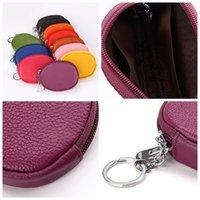 mini fermuar para çantaları toptan satış-Deri Mini sikke cüzdan anahtar vaka Küçük Değişim Para Çantaları Cep Cüzdan Anahtarlık Vaka Mini Kart Kılıfı Fermuar Çantası