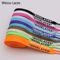 Wholesale off white flat laces for sale - Group buy Weiou New Letter Font mm Double Sides Printed quot SHOELACES quot Black White Laces OW Signed Off Flat Shoes Lacet Joint Shoelace