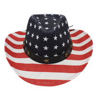 437a8837931 New Fashion Men Women Western Straw Cowboy Cap Outdoor Wide Brim Beach Sun  Hat Cowgirl Jazz Hat Flag of the United States