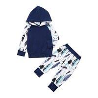 ensembles de vêtements pour bébés nouveau-nés achat en gros de-Infant garçon vêtements ensemble imprimer manches longues enfants bébé vêtements de garçons avec chapeau et pantalons printemps casual garçon nouveau né filles