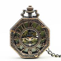 relógio de bolso novo esqueleto venda por atacado-Chegada nova Retro Pattren Quadro Caso Com Caixa De Vidro Projeto Preto Número Romano Skeleton Mecânica Pocket Watch Para Homens Mulheres