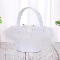 Wholesale wedding party basket for sale - Group buy Romantic Bowknot Peal Flower Girl Basket Ceremony Wedding Party Decoration Gift