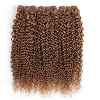 Wholesale curls weave resale online - Light Golden Brown Brazilian Virgin Curly Human Hair Weave Bundles Jerry Curl Bundles Inch Remy Human Hair Extensions