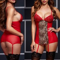 ingrosso camicie da stampa di leopardo-Red Leopard Print Chemises Costume Valentino bamboletta Lingerie Sexy Lover Mesh senza maniche Sleepwear Erotica femminile camicia da notte