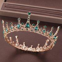 coroas redondas para noivas venda por atacado-Tiara De Cristal Verde Coroa Para A Noiva Headpiece Acessórios Para o Cabelo Rodada Rainha Diadema Tiaras Da Noiva Do Casamento Do Cristal Da Coroa