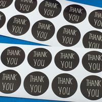 caixa de cartão diy venda por atacado-3 cm de Diâmetro de Papel Preto Obrigado Etiqueta Etiquetas Auto-adesivas Etiquetas DIY Feitas À Mão Para Cartões / Jóias / Caixa / Presente / Asse