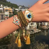 böse auge gold charme armband großhandel-Go2boho Gold Pulseras Delica MIYUKI Armband Schmuck Evil Eye Armband 2019 Frauen Türkische Bösen Blick Bileklik Gold Kristall Quaste