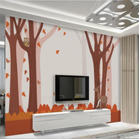 Wholesale pictures foxes for sale - Group buy custom size d photo wallpaper living room bed room kids mural tree forest sika deer fox d picture sofa TV backdrop wallpaper wall sticker