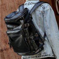 персонализированные рюкзаки для мужчин оптовых-Фабрика Оптовая мужская сумка новый мульти-карманный модный рюкзак открытый путешествия кожаный рюкзак для отдыха персонализированная кожаная сумка для студентов