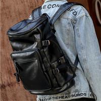 mochilas homem personalizado venda por atacado-Fábrica de atacado homens bolsa nova multi-bolso moda mochila de viagem de couro ao ar livre mochila de lazer saco de estudante de couro personalizado