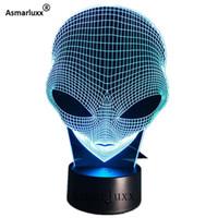 ingrosso notte unica-Alien Head 3d Hologram Illusion Unique Acrilico Night Light Con Touch Switch Luminaria Lava Lampada 7 colori Modifica Deco Regalo Q190611