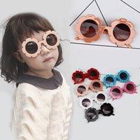 óculos de quadro redondo para crianças venda por atacado-Crianças Sunflower Sunglasses 6 cores Quadro Óculos De Sol UV Proteção Reflexiva Crianças Óculos De Sol Redondos Óculos KKA7165