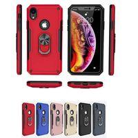 telefon muhafazası araba montajı toptan satış-Yeni 2in1 Zırh Vaka yeni iphone xs xr Için max araç montaj kılıf samsung not 10 s10 artı huawei p30 darbeye Sert Telefon Kapak