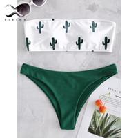 eb6e47e7b98685 Bikinx Bandeau Swimwear Women Push Up Swimsuit Female Cactus Print Micro  Bikini Sexy Bathing Suit Beach Bathers Biquini New Q190513