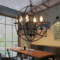 железные люстры свечи оптовых-Промышленного Урожай ретро свет подвеска металл глобус люстра Подвеска Черного Rust Железной Подвеска лампа E14 E12 свеча для кофейни