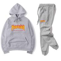 hoodies da forma alta dos homens venda por atacado-Agasalho dos homens Designer de Moda Hoodies + calças 2 Peça Define Cor Sólida Ternos de Roupas de Marca 2019 Fatos de Treino de Alta Qualidade para Homens