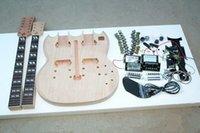guitarra electrica bricolaje solido al por mayor-DIY SG Kit de guitarra eléctrica de doble cuello Mástil de caoba sólido Cuello del cuerpo
