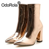Wholesale sexy glossy dress for sale - Group buy Women s Boots Ankle Boots Block Heel Sexy Glossy Leather Short Quality Fashion Dress Office Party Autumn Winter