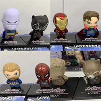 Wholesale big spiderman doll online - The Avengers Q Version Model Toy Iron Man Spiderman Captain America Hulk Multiple Styles Doll Small Exquisite mk I1