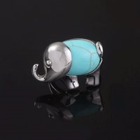 Wholesale turquoise elephant ring for sale - Group buy 100 Unique Silver Plated Elephant Shape Green Turquoises Stone Ring Adjustable Finger Ring