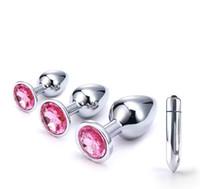 vagin anal sex toy achat en gros de-Érotique Masseur En Acier Inoxydable Femme Vaginal Butt Plug Vibrateur Produits de Sexe Plug Anal Gode Perles Sex Toy Insertion Vaginale