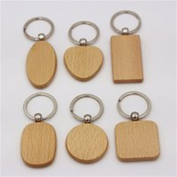 Wholesale blank wooden keychains for sale - Group buy Customized Blank Round Heart Square Shape Wood Keychains Creative Wooden Key Buckle Wedding Birthday Gift For Man And Women rt H1