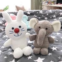 rosa elefanten geschenke großhandel-Kawaii weißes Häschen-graues flappy Ohrelefant Rosa Schwein-piggy Karikatur-Plüschtierschlafen beschwichtigen Babyspielwarengeschenk