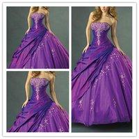 robes de quinceanera pourpre sans bretelles achat en gros de-Purple Prom Dress Lace Appliques Quinceanera Robes Longueur De Plancher Elegante Soirée Robes Formelles 2019 Bretelles Ruched Side Sweet 16 Robe