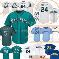 nueva camiseta de los hombres al por mayor-51 Ichiro Seattle Béisbol Jerseys Marineros 22 Robinson Cano 24 Griffey New Men Jersery 2019 para hombre diseñador camisetas