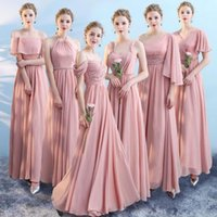 Wholesale wedding dresses neckline styles for sale - Group buy Custom Made Candy Pink All Style Neckline Chiffon A Line Bridesmaid Dress Simple Long Wedding Guests Dresses With Zipper Back