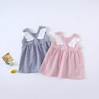 Wholesale cotton bud for sale - Group buy Ins New Summer girls Clothes dress Sleeveless Plaid Print Back With Wing Design Dress Cotton Summer girl Clothing Dress