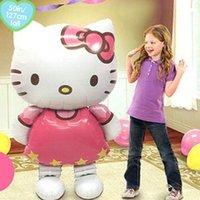 katzenfolie ballons großhandel-NEUE Design Cartoon Folienballons Kinder KT Katze Geburtstag Hochzeit Baby Shower Air Aufblasbare Spielzeug Bälle Weihnachten Kinder Dekoration