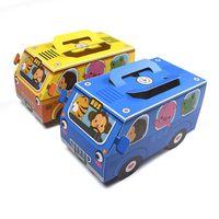 cajas amarillas del favor de la boda al por mayor-50 X Cute Creative Yellow / Blue Car Candy Bar Box Favor de la boda Chocolate Bar Baby Shower Party Cookie Box Decoración del partido