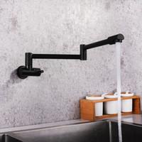 Wholesale wall mounted folding sink resale online - Folding Kitchen Faucet Color Chrome Black Brushed Sink Faucet Cold Water Tap Brass Wall Mounted