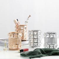 nachahmungselektronik groihandel-Luxus Kristall Kerzenhalter Hochzeit Kerzenständer für Desktop-Dekor Romantische Abendessen bei Kerzenschein Props Feder-Verfassungs-Bürsten-Speicher-Halter