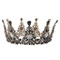 runde kronen für bräute großhandel-1 STÜCK Retro Braut Stirnband Runde Strass Barock Prinzessin Crown Haarschmuck Kopfschmuck Haarband Tiara Headwear