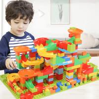 Wholesale children plastic slide resale online - 165pcs Marble Path Race Run Maze Ball Track Building Blocks Abs Funnel Slide Assemble Bricks Mini Size Blocks Toys For Children