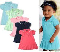 12m elbise toptan satış-12 M-4YEAR Kızlar bebek Yaz Dreess çocuklar Pileli elbiseler tenis elbiseleri çocuk Spor elbise Marka giyim