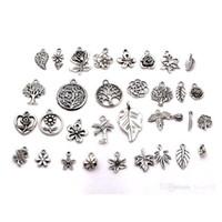 Wholesale antique silver leaf pendant resale online - Hot Sale Antique silver mixed flowers trees leaves charm pendants DIY Jewelry style p16