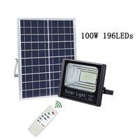 alumbrado público solar al por mayor-Faroles solares Focos solares 60W 100W IP67 Lámpara de pared con control remoto Iluminación de seguridad para el patio Jardín Garaje