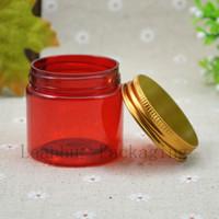 ingrosso crema cutanea rossa-Rosso Plastica ricaricabile Makeup Cream Vaso Con Alluminio Cap, Vuoto Crema Vasi imballaggio cosmetico, Cura personale Skin Care Container