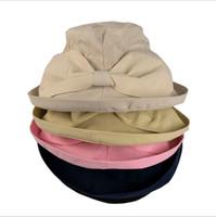 ingrosso cappello di feltro giallo-Estate Primavera Autunno Pieghevole personalizzato colore secchio di pesca cappello donne tesa larga protezione UV Cappelli Sun Block