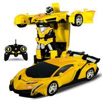 coches multi eléctricos al por mayor-Transformación Modelo de automóvil eléctrico con control remoto De una sola llave Deformación Multicolor Plástico Coche Robot Juguete de regalo para niños