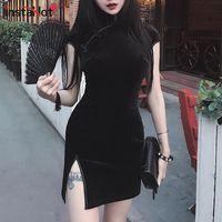vestido curto das mulheres chinesas venda por atacado-Instahot estilo chinês de veludo cheongsam dress mulheres bodycon do vintage retro manga curta divisão mini senhora tradicional elegante qipao y19053001