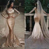 Wholesale royal blue silk evening dresses resale online - 2019 Saudi Arabic Mermaid Prom Dresses Luxury Champagne Lace Applique Long Sleeve Evening Dress Two Pieces Bridal Gowns Custom Made