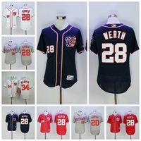 camisetas rojas de beisbol al por mayor-Hombres Washington Jayson Werth Jerseys Nacionales Noah Syndergaard Bryce Harper Daniel Murphy Blanco Azul Rojo Cool Flex Baseball Jerseys