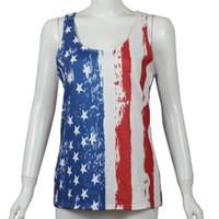 bandera americana chaleco mujer al por mayor-Diseñador de las mujeres Chaleco camisa Bandera americana Día Nacional de la Independencia EE. UU. 4 de julio Raya Estrellas Impreso Sin mangas Parte inferior abajo Top Mujeres Top