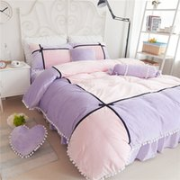 Wholesale mink skirts online - Princess Style Super Warm and Soft Winter Thickening Mink Cashmere Bedding sets Candy Color with Flannel Fleece Bed Skirts
